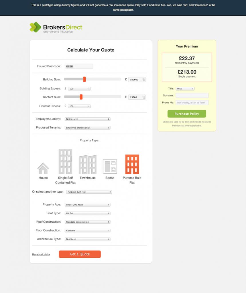 Brokers Direct | Prototype Quote System Premium